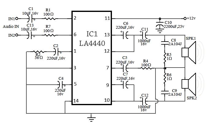 rangkaian skema audio amplifier 18 watt stereo