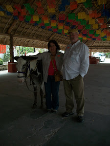 Steve and me with donkey at black coral place