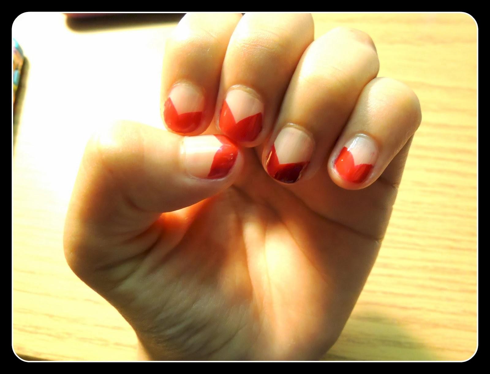 How To: Red Chevron Manicure / Manicura Cheurón Roja