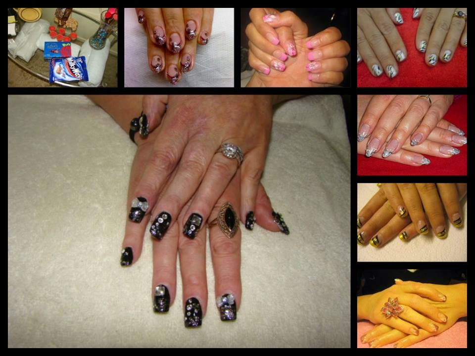 acrylics gels stamping nail art crystals glitz and a special custom silver Shellac mix-white black pink yellow