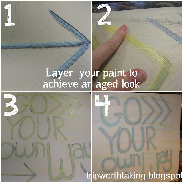 layered paint to achieve aged look