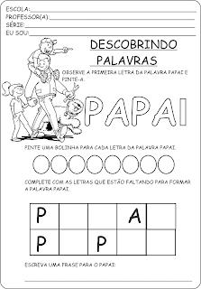 Atividade dia dos pais - Descobrindo palavras