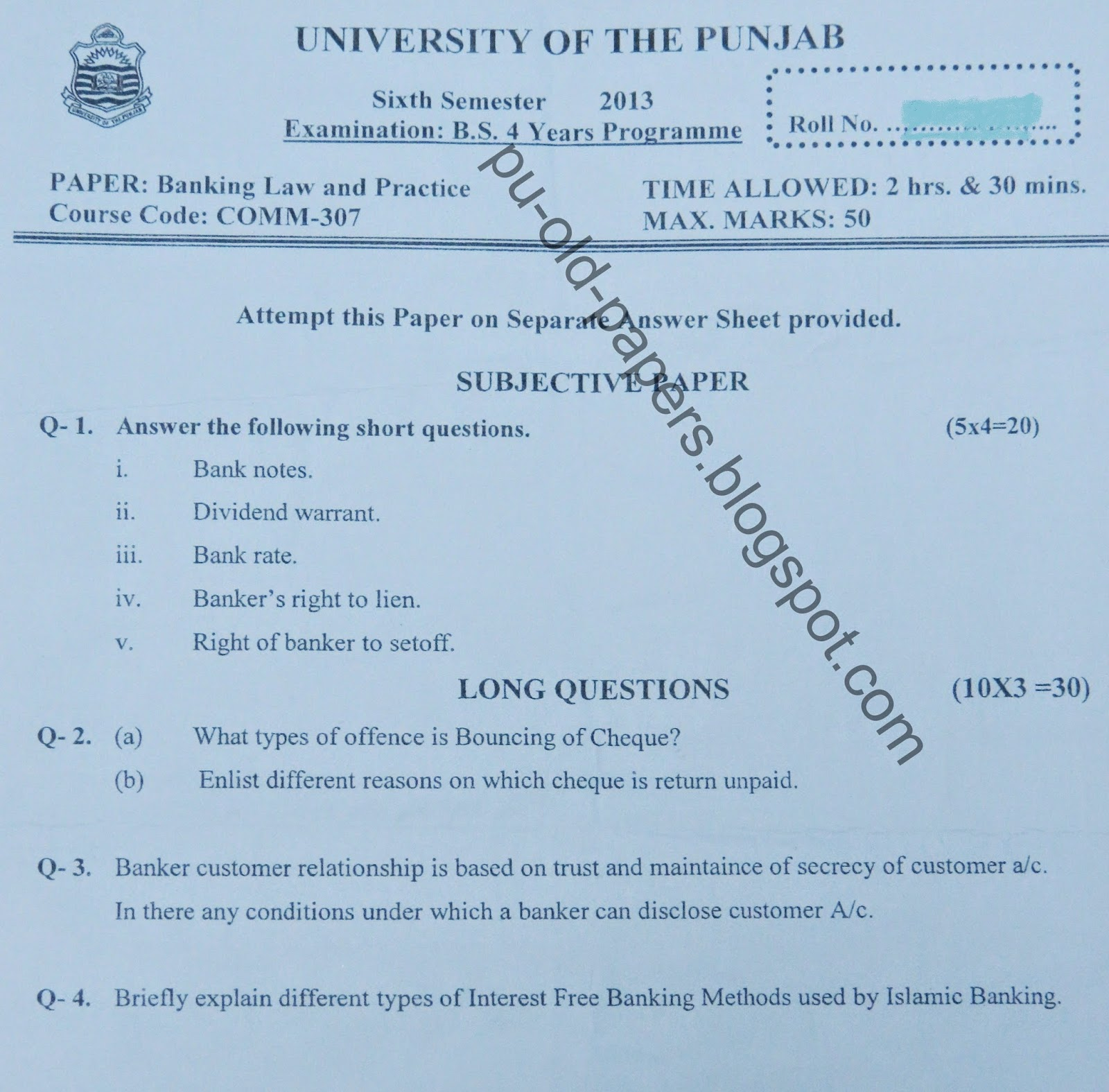 business law paper 2014 punjab university 2014 bcom part 2 business law punjab university lahore past papers of all previous years are uploaded here students can download pu lahore bcom part 2 past papers.