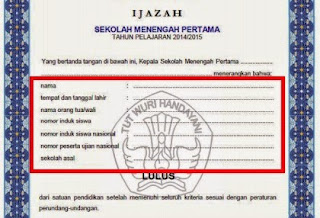 Info Pendidikan Terbaru Contoh Blangko Ijazah Sd Smp Sma 2015