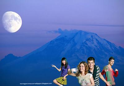 Fundo de tela dos Morangos com Açucar Logotipo da série juvenil em wallpaper Lua da Montanha Azul