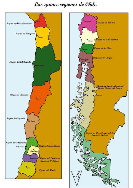 mapa de chile regiones