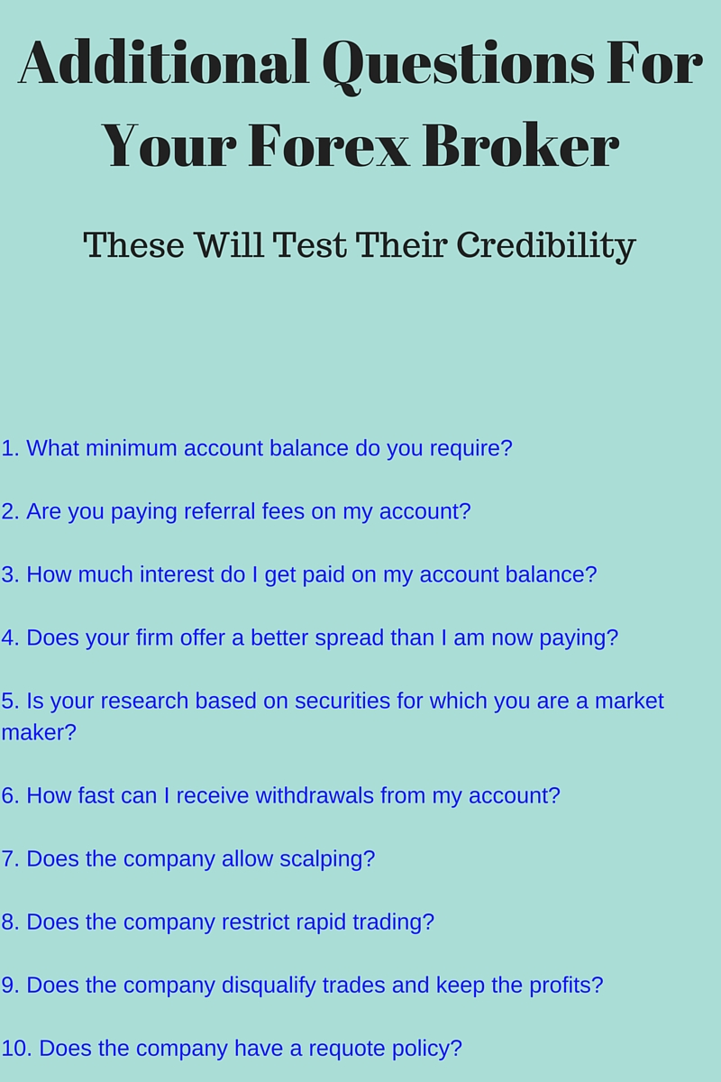 Questions to ask a forex broker