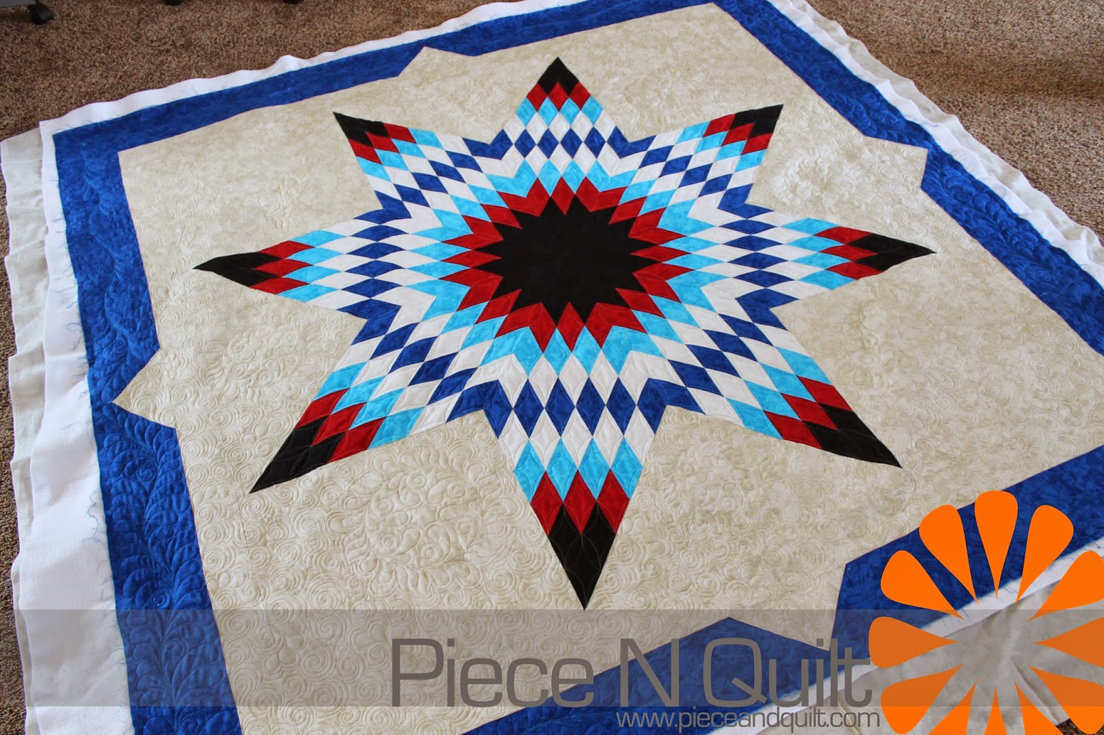 "New Pieced Quilt Pattern  LONE STAR 69/"" x 69/"""