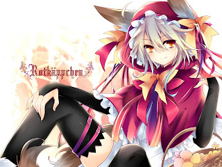 Cute Girl Anime Ear Tail Sexy Red Riding Hood Anime HD Wallpaper Desktop PC Background 1846