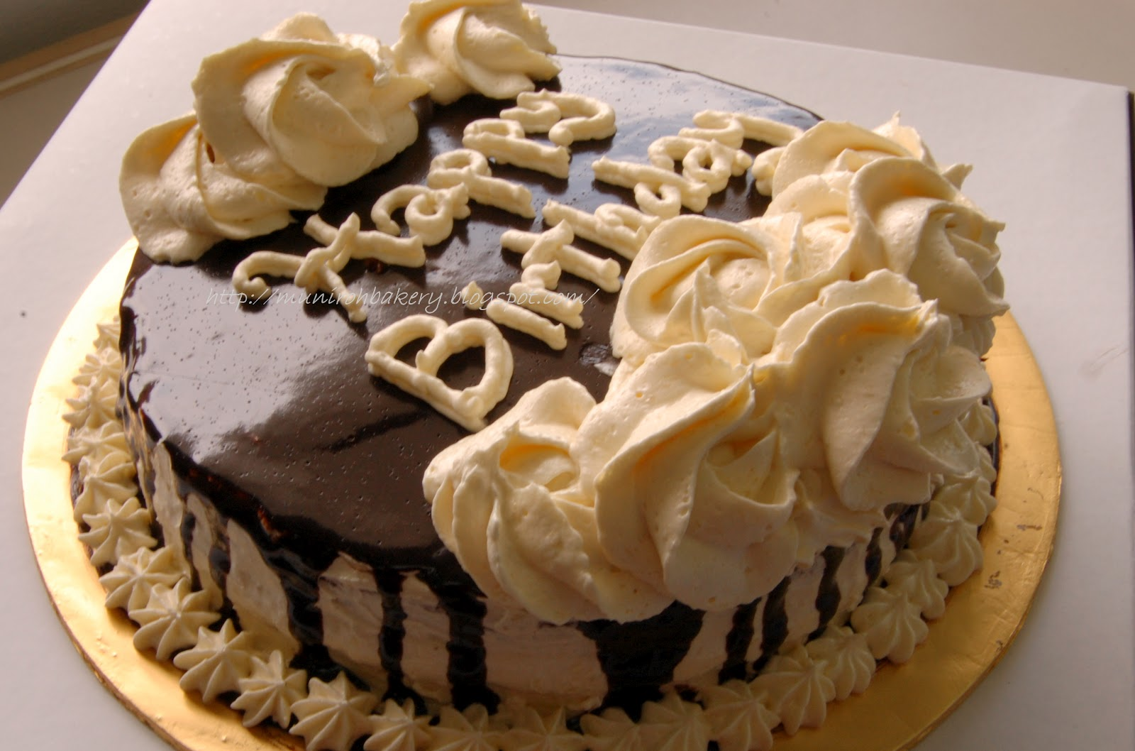 cake with creamy vanilla frosting and chocolate ganache birthday cake ...