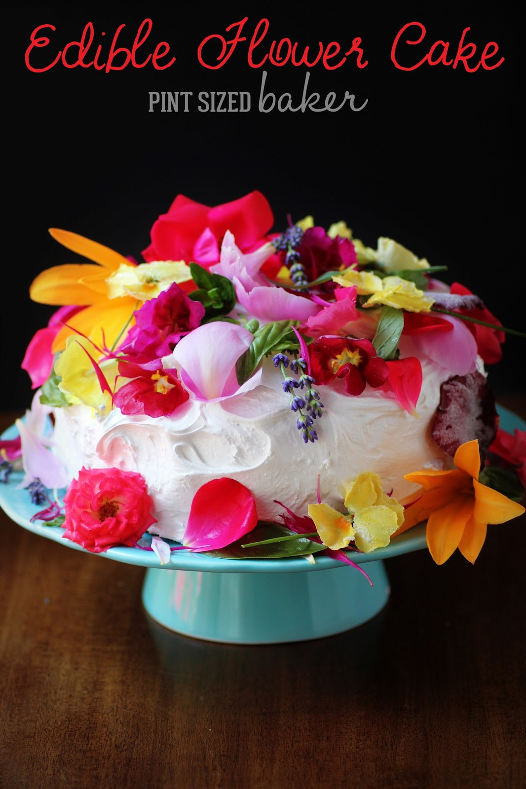 Edible Organic Flowers Cake Pint Sized Baker