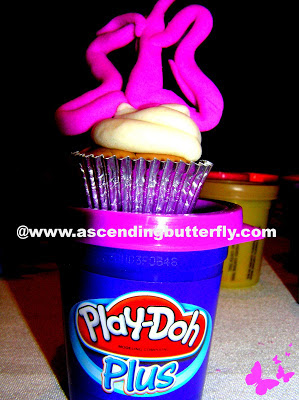 Butterfly Topped Cupcake made out of Play-Doh during Hasbro Toy Fair Event in New York City