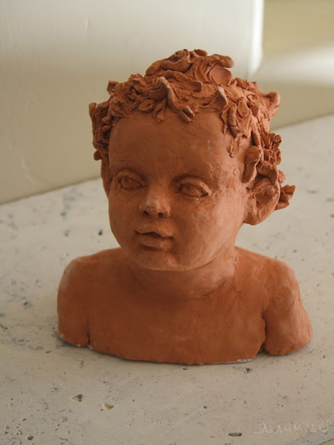 child, baby, sculpture, art, sarah myers, sarah, myers, head, infant, portrait, escultura, ceramica, arte, niño, earthenware, ceramic, terracotta, amy myers, eyes, glance, face, small, young, realistic, figurative, classic, classical, human, endearing, beautiful, darling, expectant, new, work, artwork, bust, red, upward, artist, mother, front