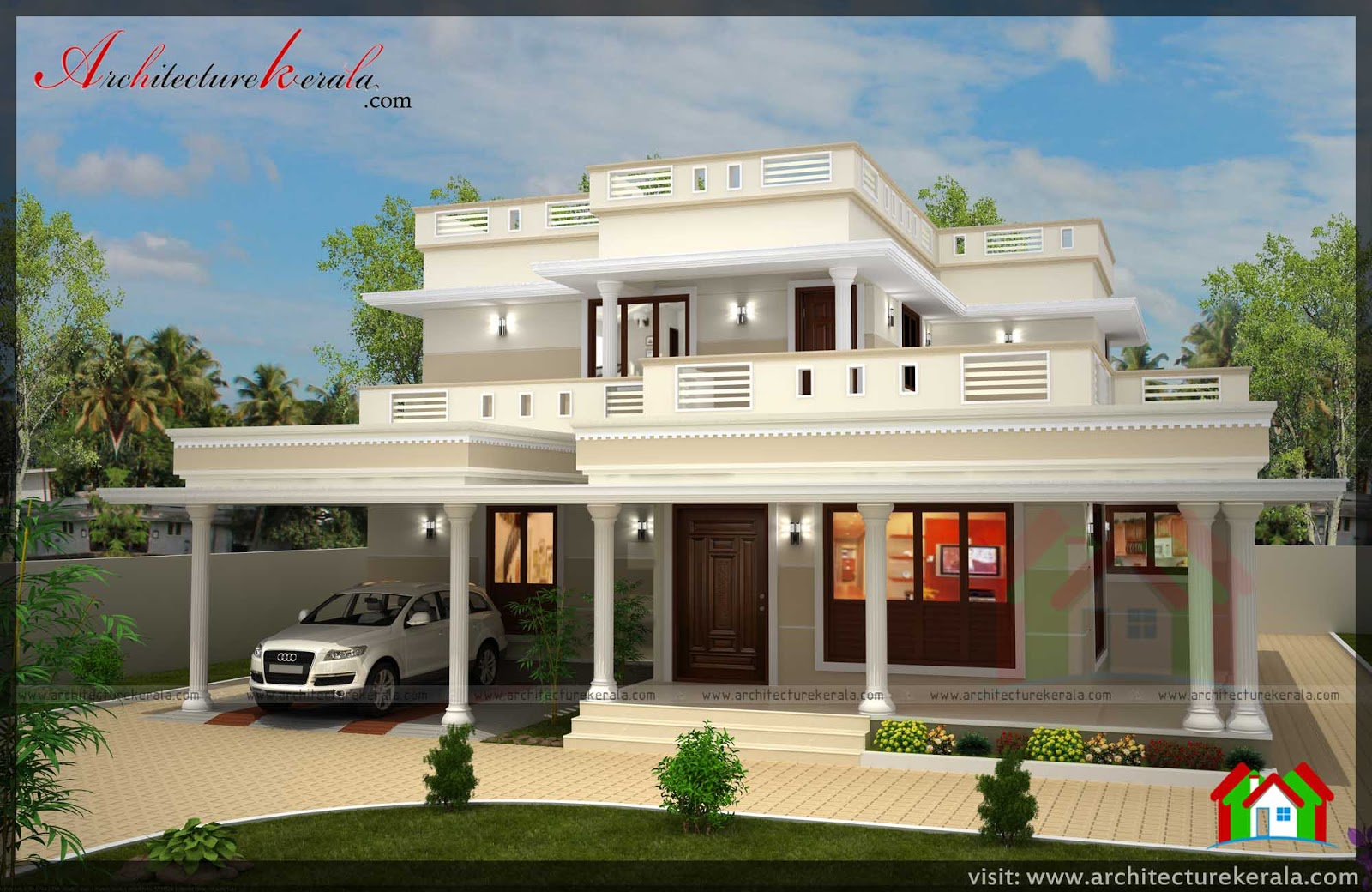 4 bed house plan with pooja room architecture kerala for Kerala style 2 bedroom house plans