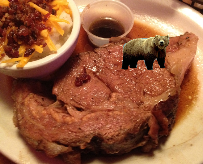 Grizzly bear sitting atop steak fat