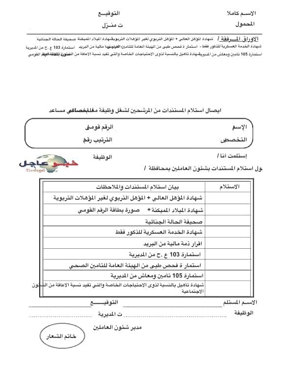 ننشر الاوراق المطلوب تقديمها للمديريات من الفائزين بمسابقة 30 الف معلم بالتربية والتعليم