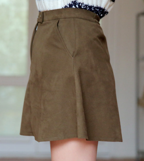 Tab Closed Mini Flared Skirt