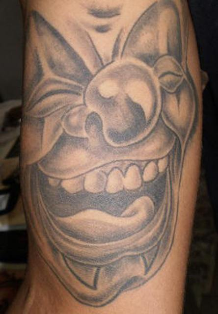 3d Black And Gray Clown Tattoo, Tattoo Which Consists Of Two Colors