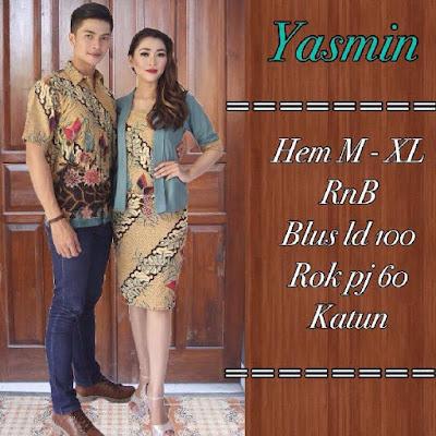 Baju Sarimbit Batik Pasangan Yasmin Biru