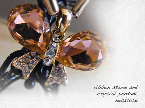 Ribbon stone and crystal pendant necklace