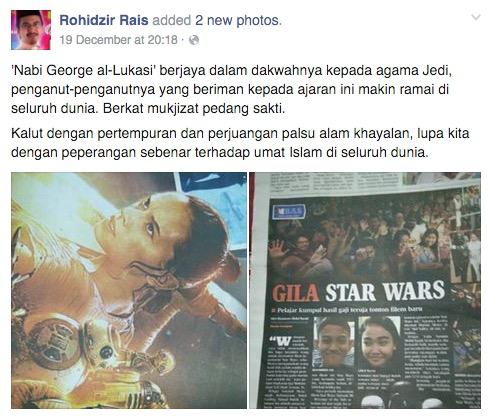Ustaz Kena Dikritik Kerana Sindir 'Iman' Peminat Star Wars