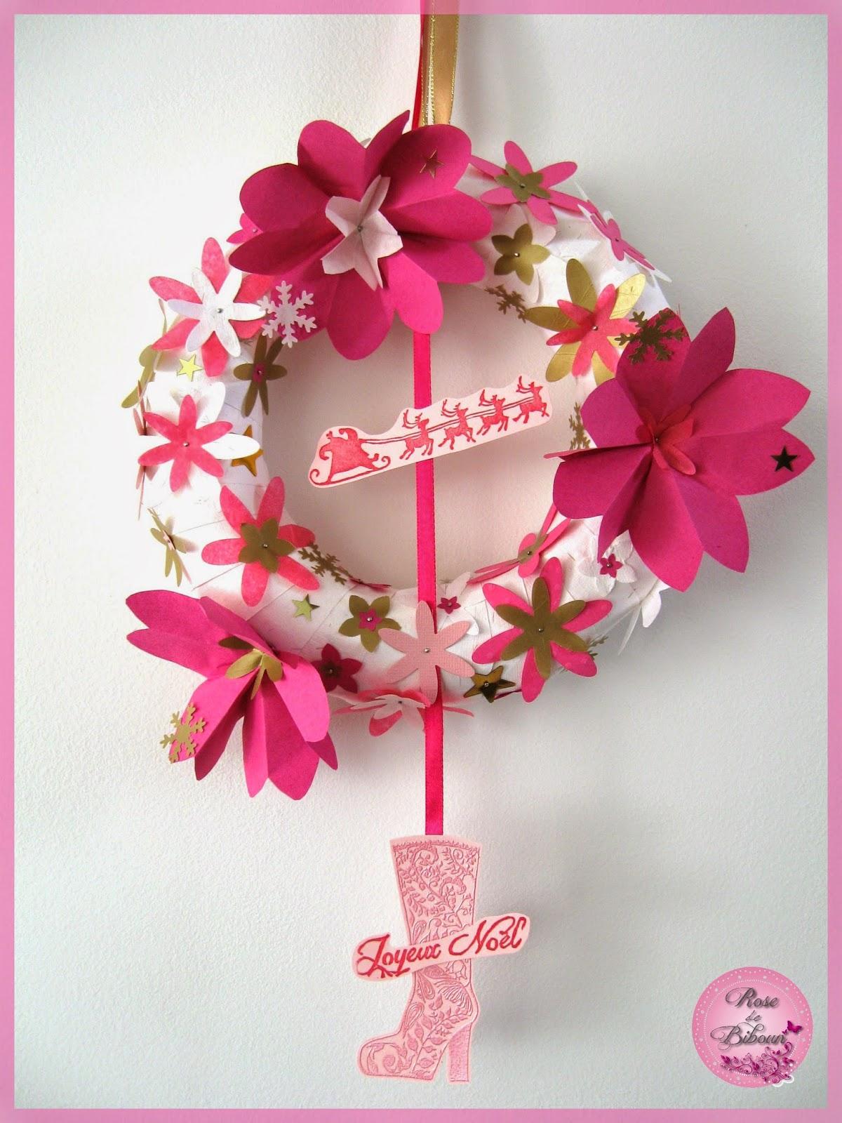 rose de biboun diy cr er sa couronne de no l avec des fleurs en origami. Black Bedroom Furniture Sets. Home Design Ideas