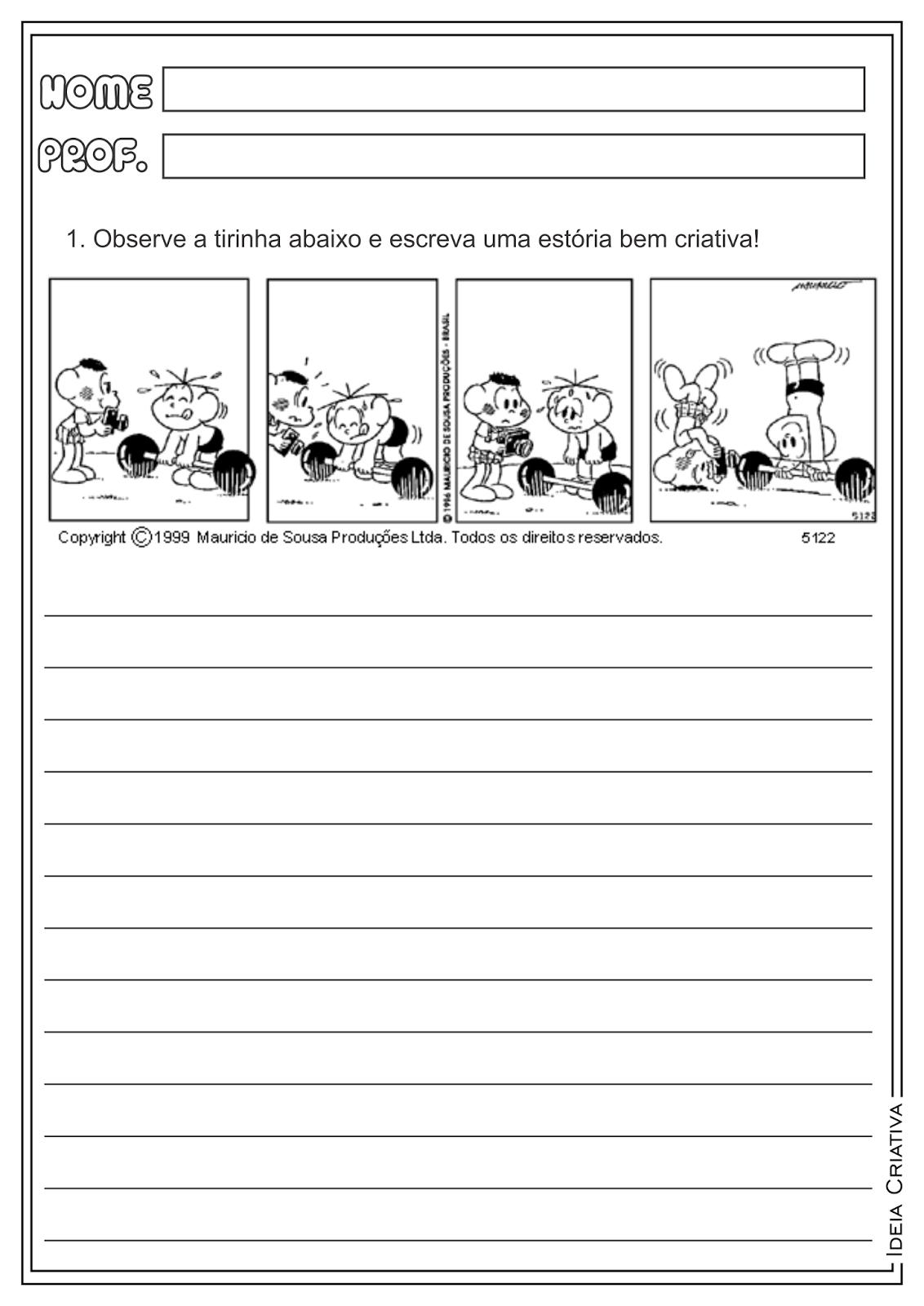 Atividades Produção Textual Tirinhas Turma da Mônica