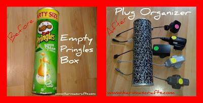 plug organizer pringles upcycle