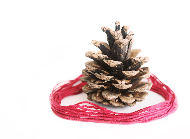 pine cone with pink thread