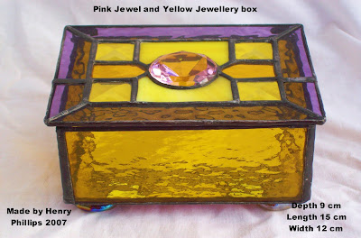 Pink Jewel and Yellow Jewellery box
