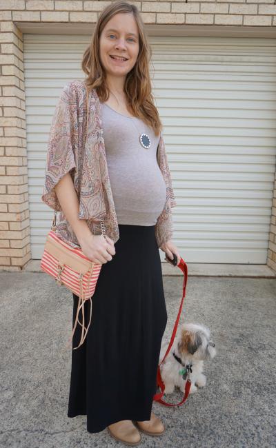 3rd trimester paisley print kimono maxi skirt acne pistol boots autumn outfit