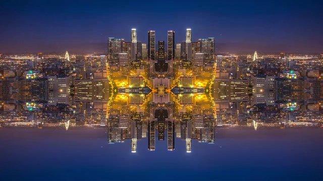 Timelapse Bandar cermin kaleidoskopik