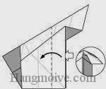 Bước 17: Từ vị trí mũi tên, mở lớp giấy trên cùng ra, kéo và gấp lớp giấy về phía bên trái.