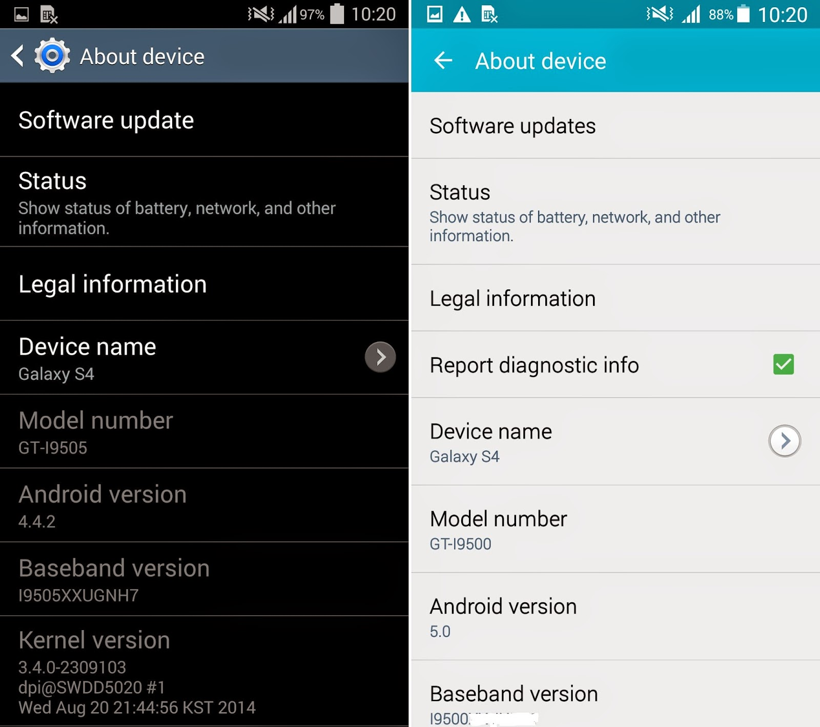 Update Android 5.0 Lollipop Samsung Galaxy S4