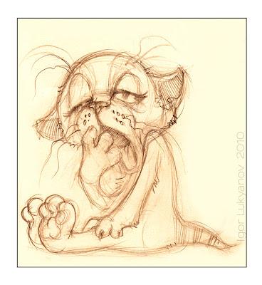 Yawning kitten cartoon sketch (pencil)