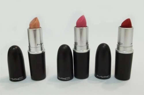 Batons MAC: Out-Minxed, Pink Noveau e Ruby Woo