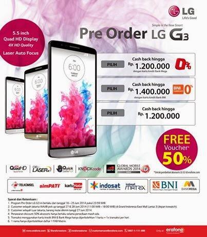 LG G3 Pre-Order Harga Mulai Rp 5.599.000 di Erafone
