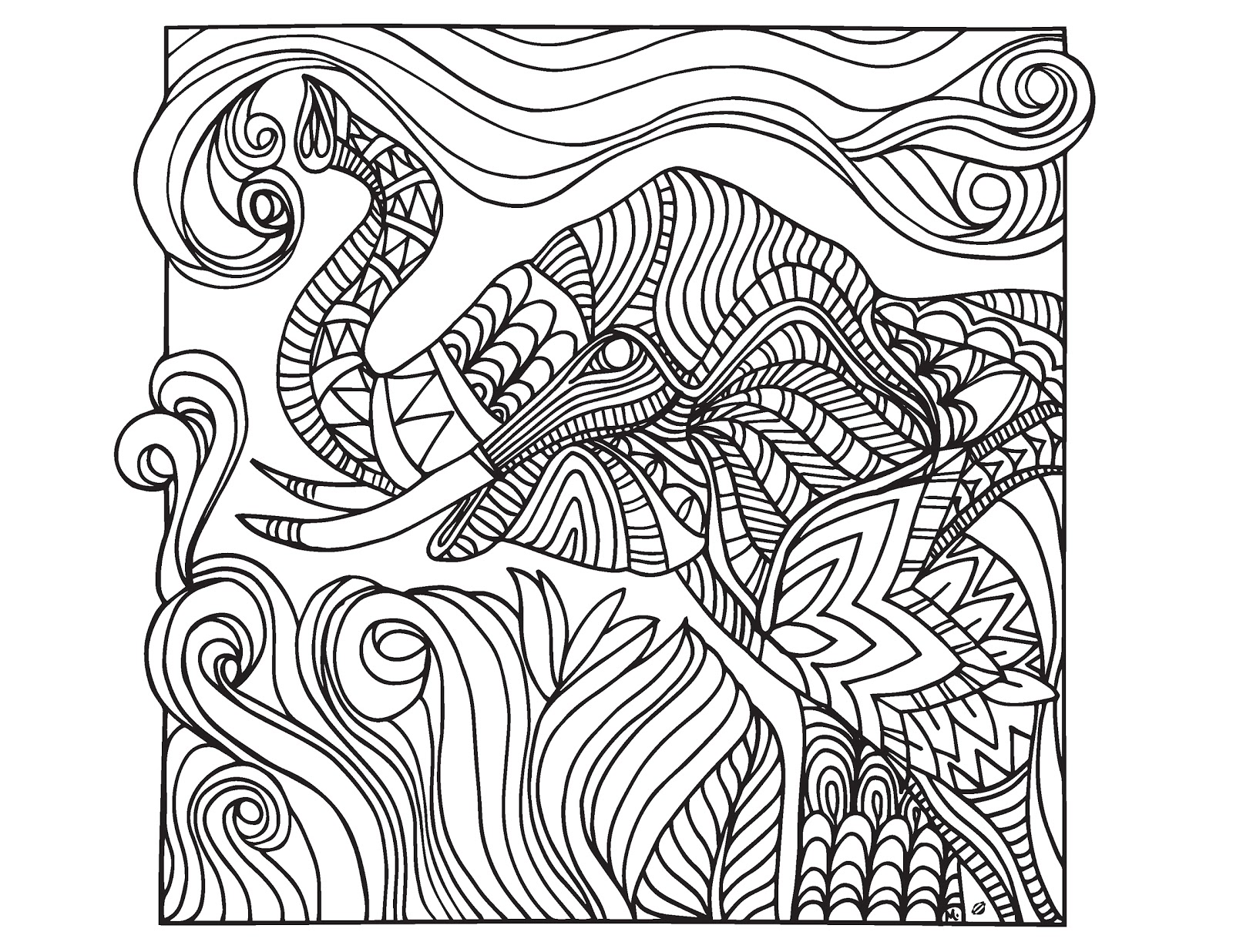 Coloring Pages For Grown Ups : Lostbumblebee grown up colouring sheet elephant