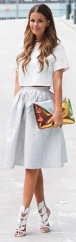 Top , Skirt, Heels , Clutch  | Fashion