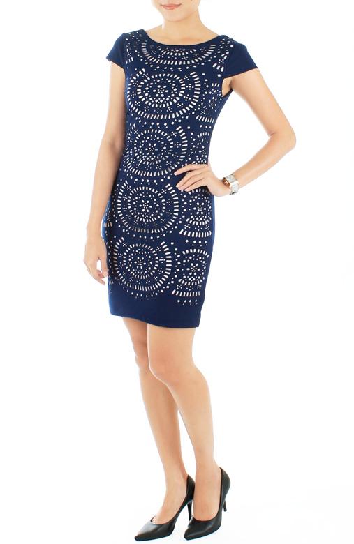 Exquisite Laser Cut Pencil Dress – Midnight Blue