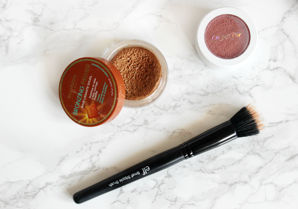 bourjois bronzing primer, colour pop blush in between the sheets, e.l.f small stipple brush