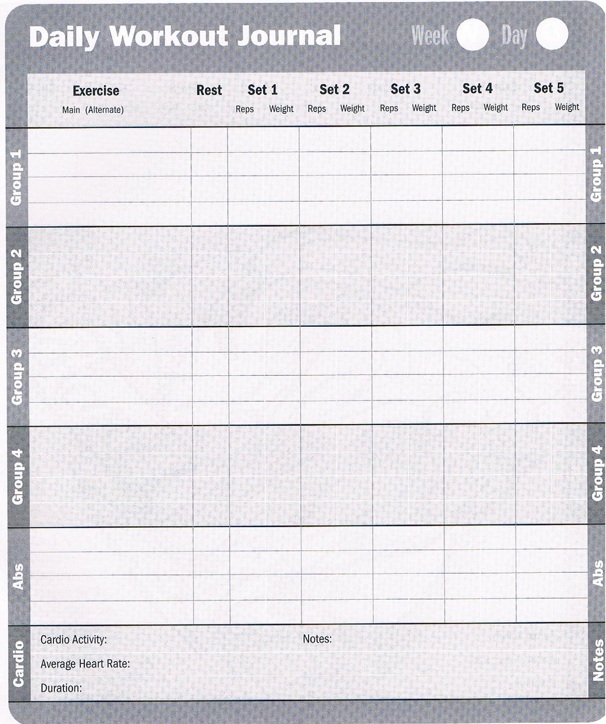 Satisfactory image for printable workout log