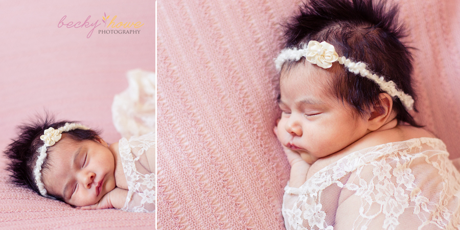 newborn photography girl pink lace