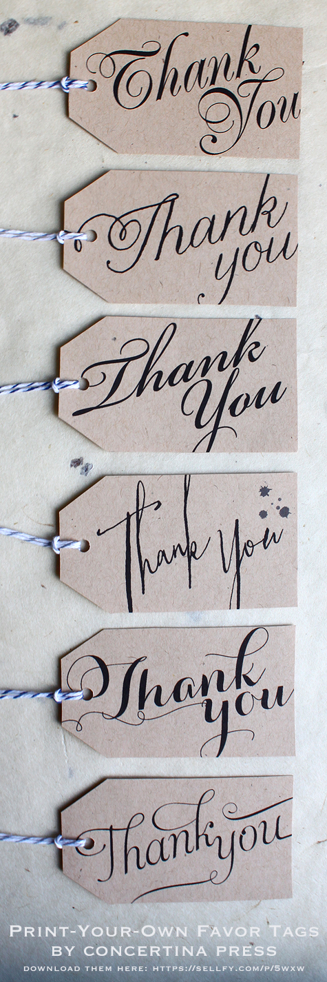 Diy Printable Wedding Favor Tags : Like one tag in particular? These printable calligraphy Thank You tags ...