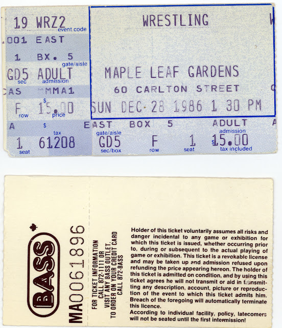 BASS Maple Leaf Gardens WWF wrestling tickets for December 28, 1986