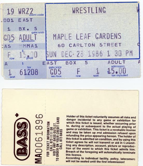 BASS Maple Leaf Gardens WWF wrestling tickets for December 28, 1986