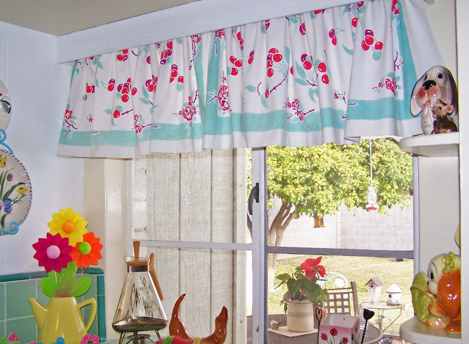 Curtains With Pom Poms Red Kitchen Curtains and V
