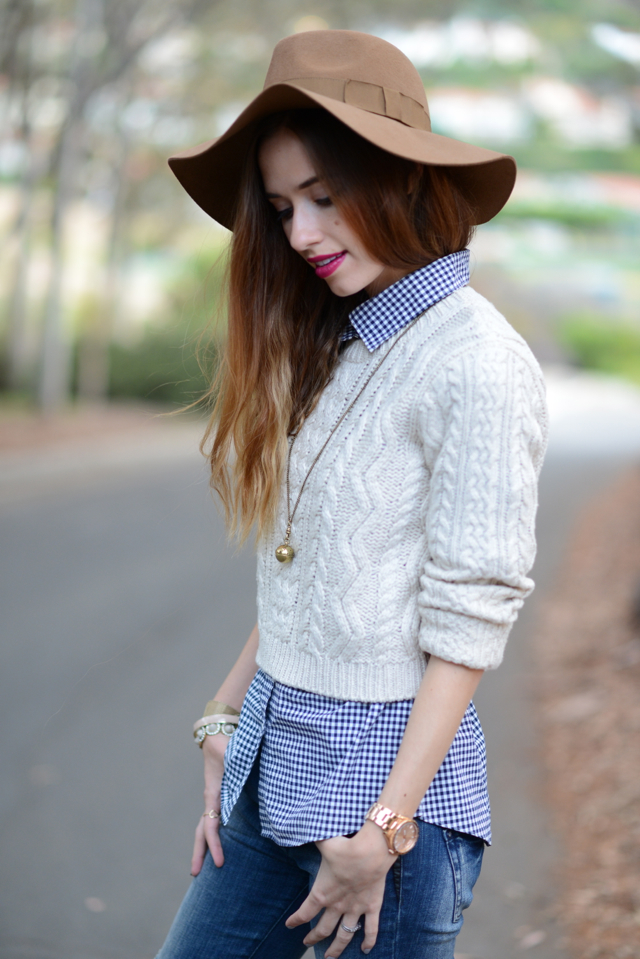 oatmeal cropped sweater with brown wool hat for fall, via M Loves M @marmar
