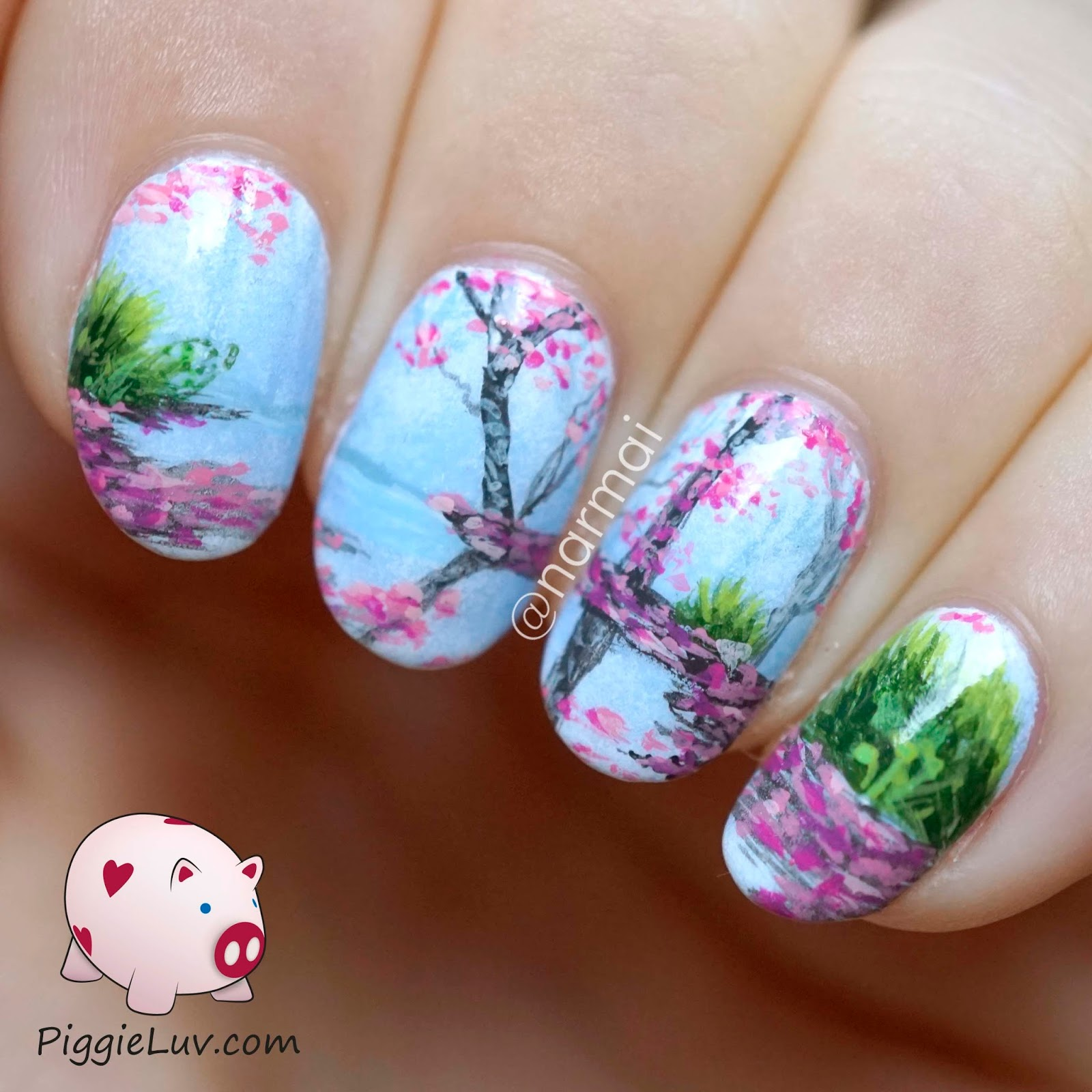 Piggieluv freehand blossoms landscape nail art imagine floating in a boat on a hot day through a landscape of blossoms you smell the amazing fresh air as you row through alternating patches of sun prinsesfo Image collections