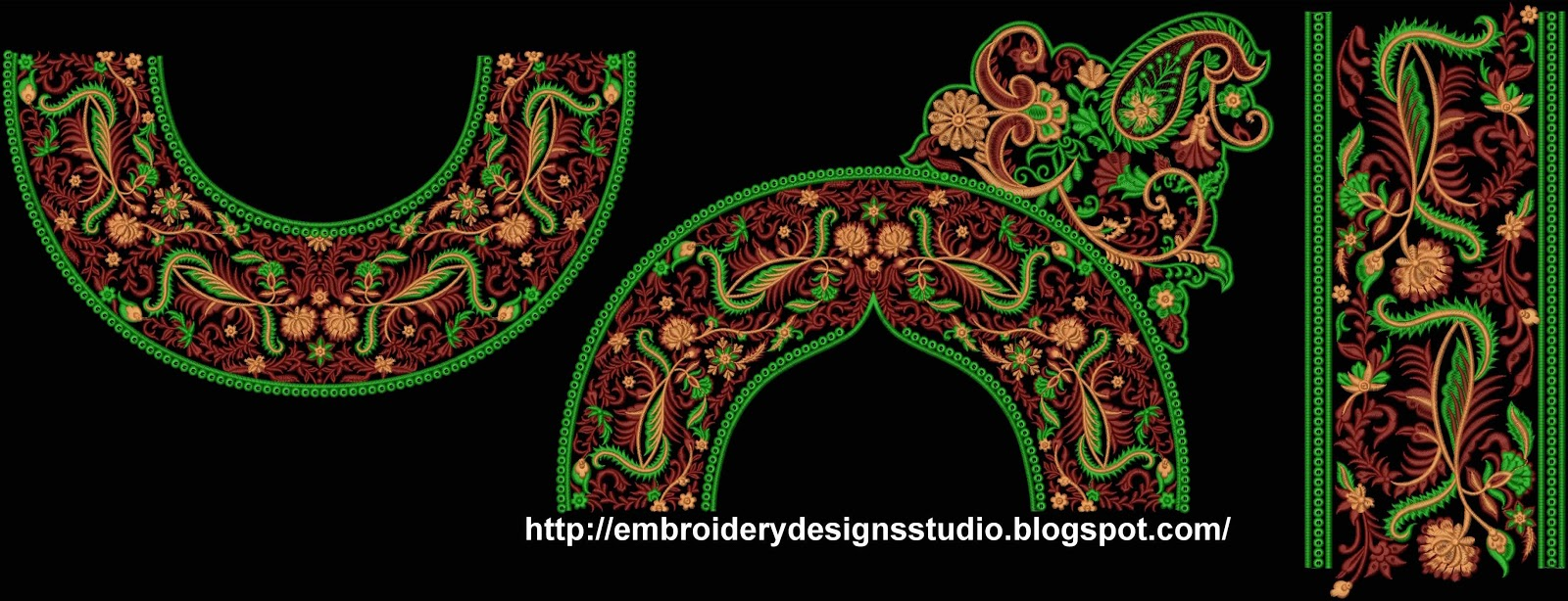 Neck free machine embroidery designs for anarkali frocks